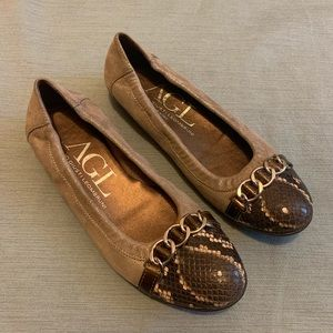 AGL Snake and suede leather ballet flat 7.5